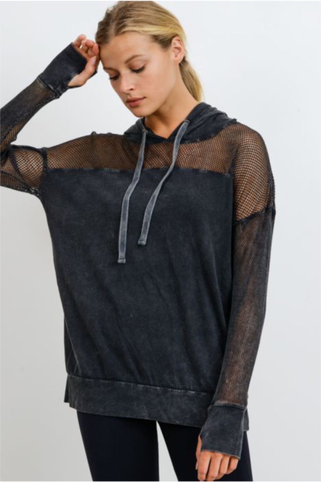 Mono B Fishnet Detail Athleisure Hoodie - Front Cropped Image