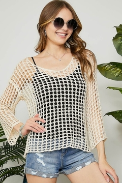 Adora Fishnet Scoop Neck Long Sleeve Top - Product List Image