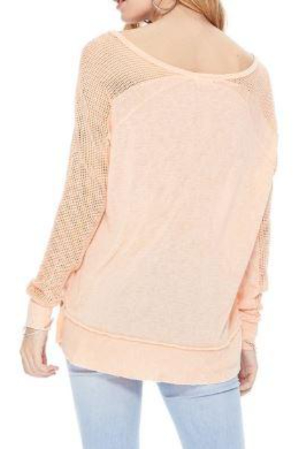 T Party Fishnet Sleeve Tunic Knit Top - Side Cropped Image