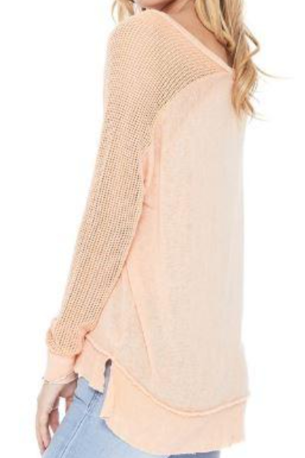 T Party Fishnet Sleeve Tunic Knit Top - Front Full Image