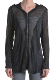 T Party Fishnet Style Zip Up Jacket - Front cropped