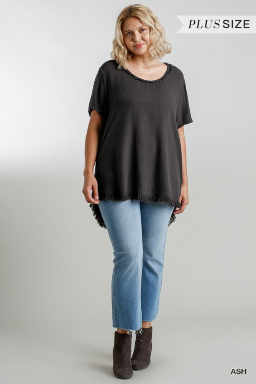 Umgee USA Fishtail Tunic Top - Front Cropped Image