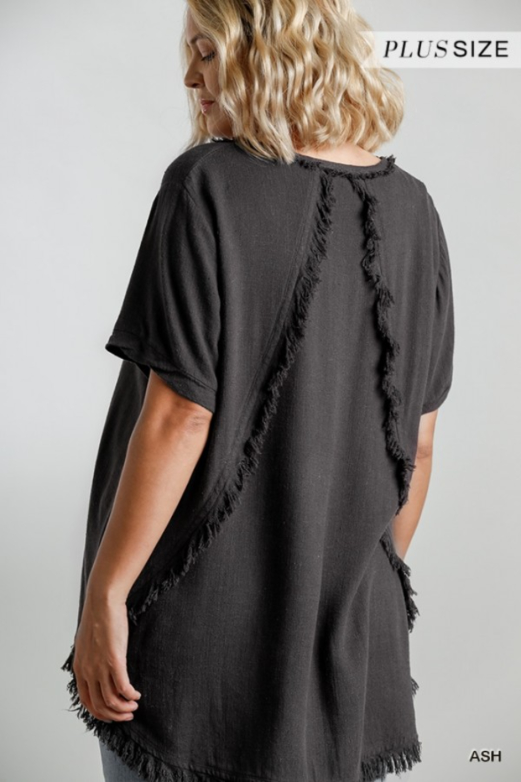 Umgee USA Fishtail Tunic Top - Back Cropped Image
