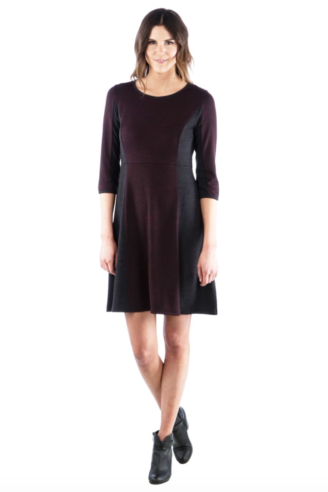 Neesha  Fit and Flare Color Block Sweater Dress - Main Image