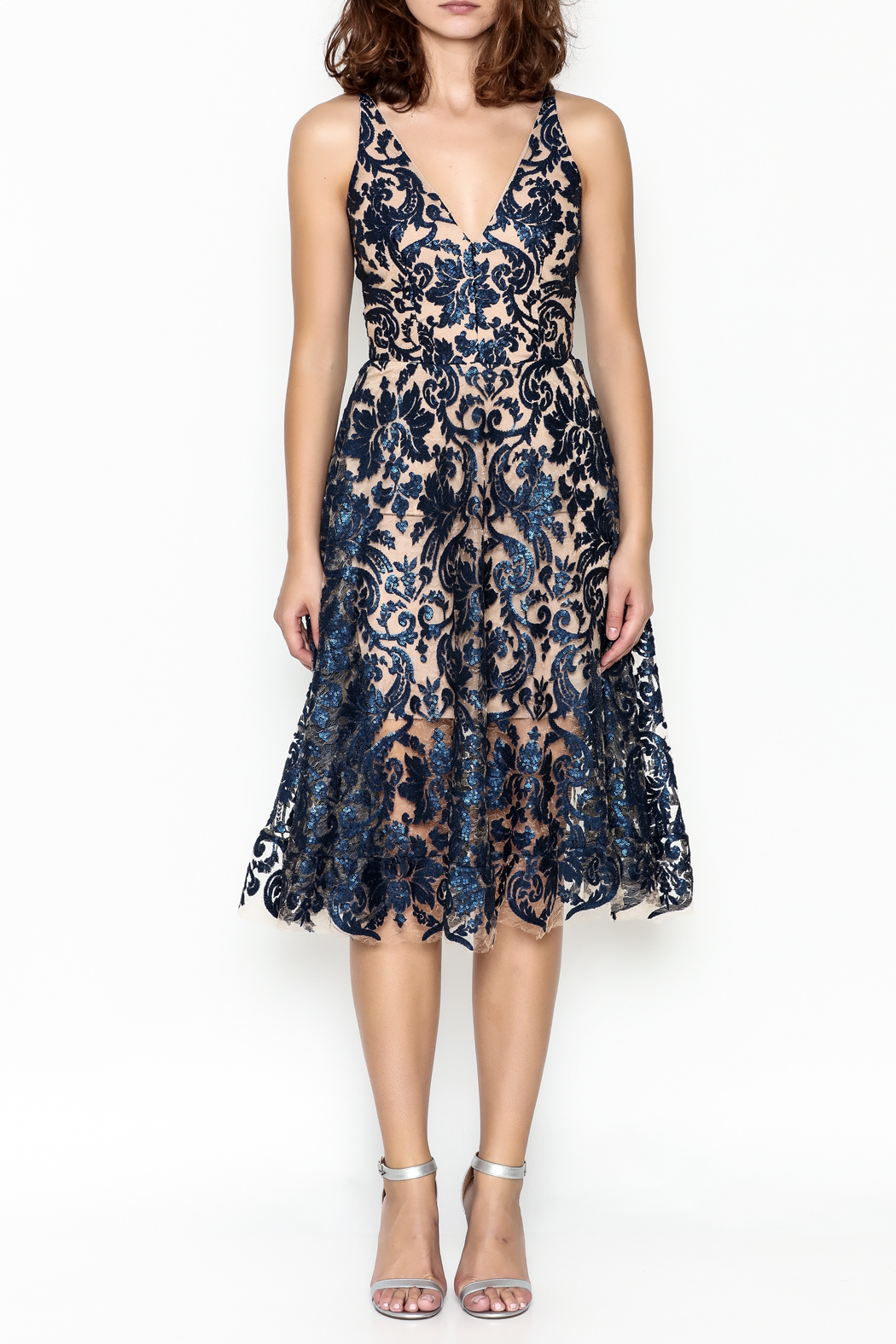 Dress the Population Fit Flare Dress - Front Full Image
