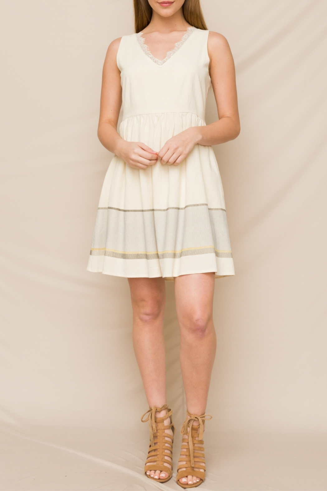 Hem & Thread Fit & Flare Dress with Lace V-Neck - Main Image