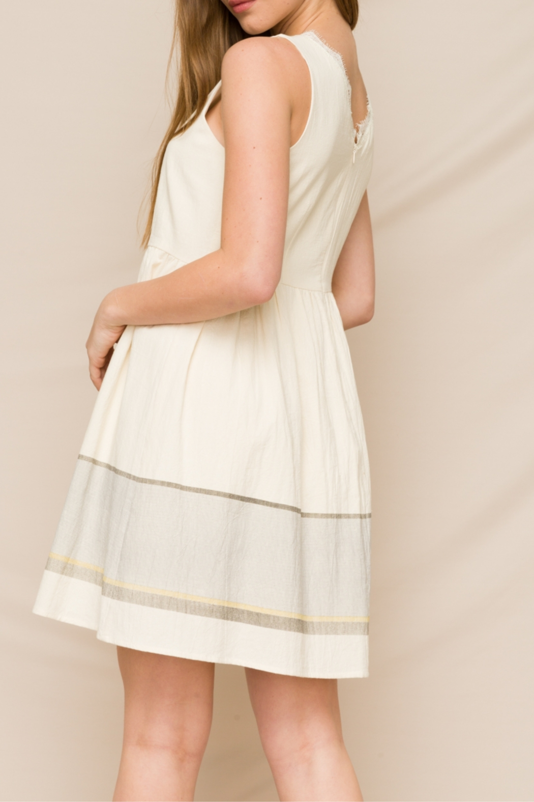 Hem & Thread Fit & Flare Dress with Lace V-Neck - Side Cropped Image