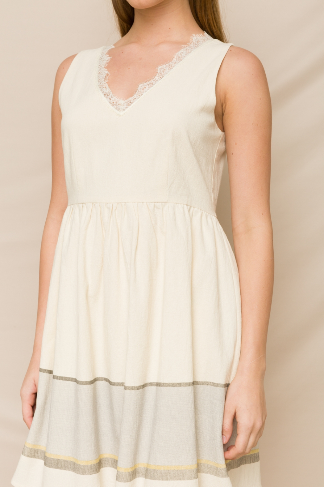 Hem & Thread Fit & Flare Dress with Lace V-Neck - Front Full Image