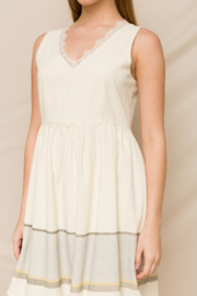 Hem & Thread Fit & Flare Dress with Lace V-Neck - Front full body