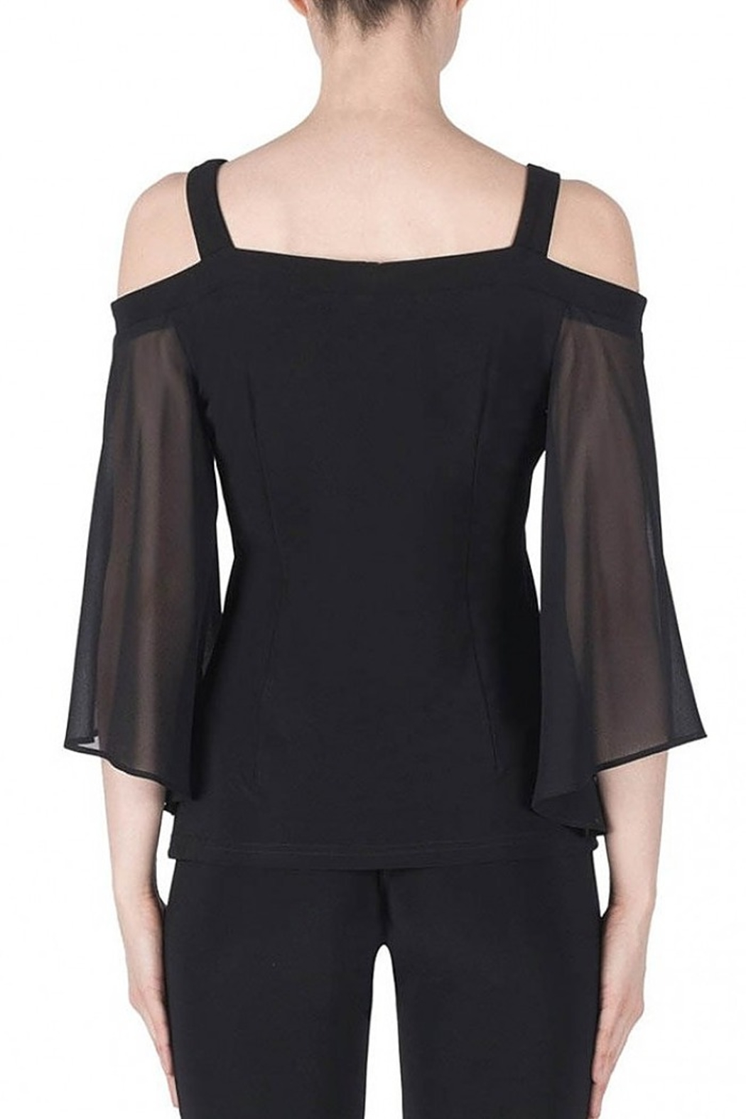Joseph Ribkoff fitted black top with pearl accented flowers - Front Full Image
