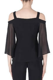 Joseph Ribkoff fitted black top with pearl accented flowers - Front full body