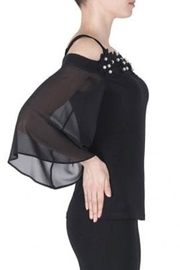 Joseph Ribkoff fitted black top with pearl accented flowers - Side cropped