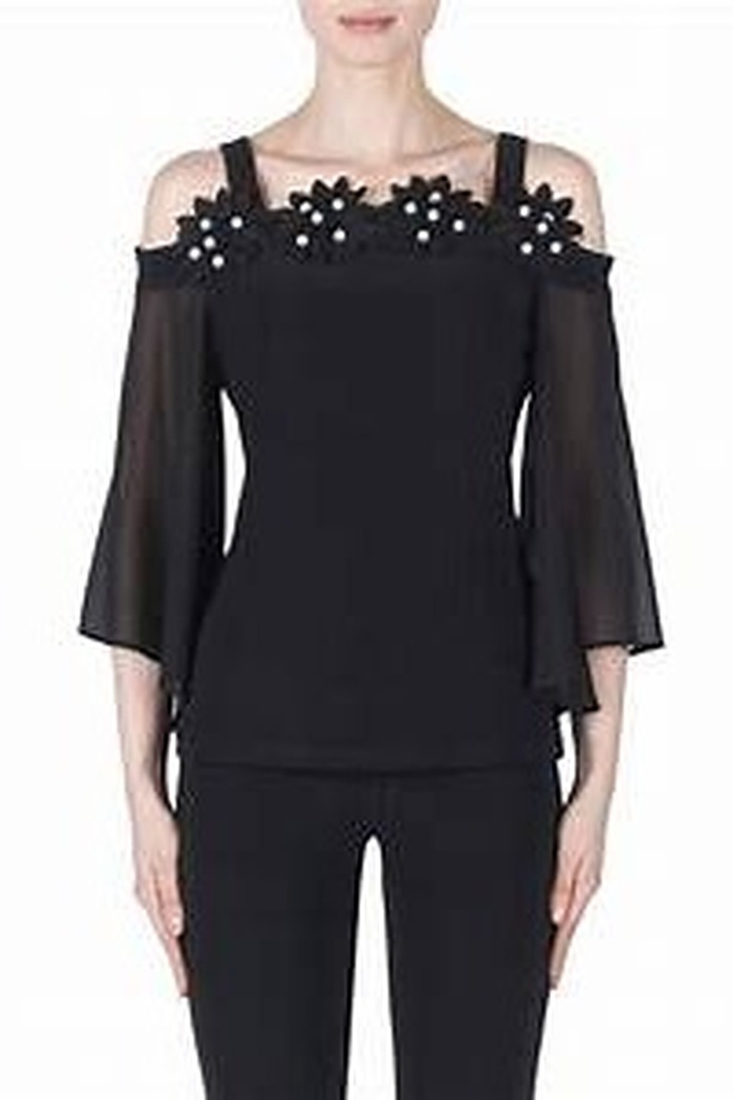 Joseph Ribkoff fitted black top with pearl accented flowers - Main Image