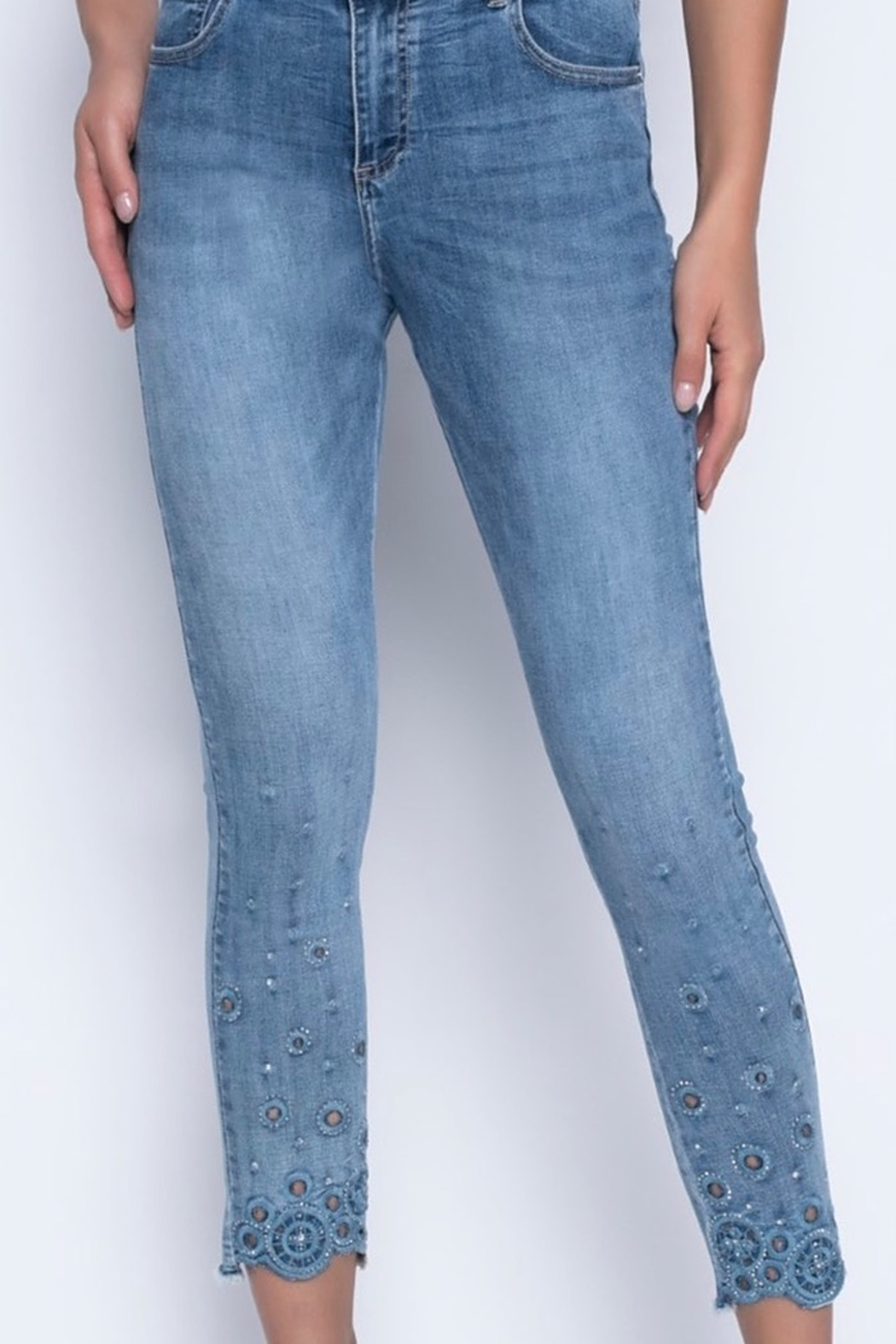 Joseph Ribkoff  Fitted Capri jeans with rhinestone and cutout detail - Main Image