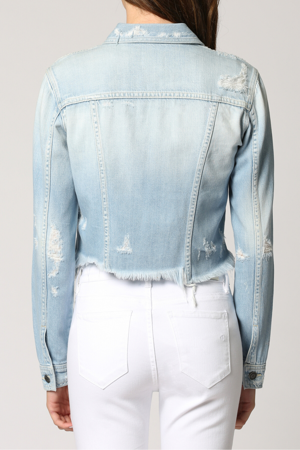 Hidden Jeans Fitted Distress Denim Jacket w Fray waist - Side Cropped Image
