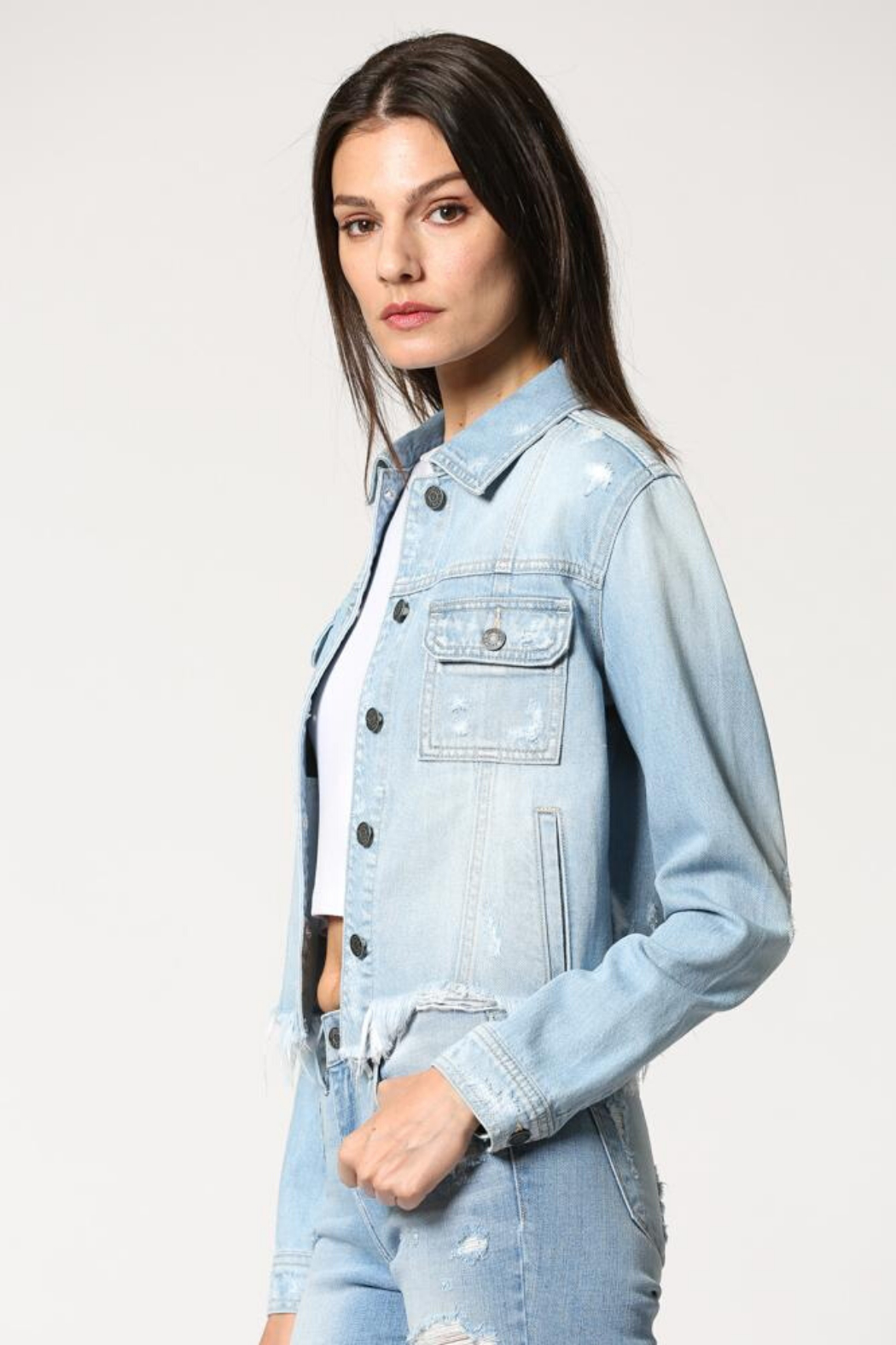 Hidden Jeans Fitted Distress Denim Jacket w Fray waist - Front Full Image