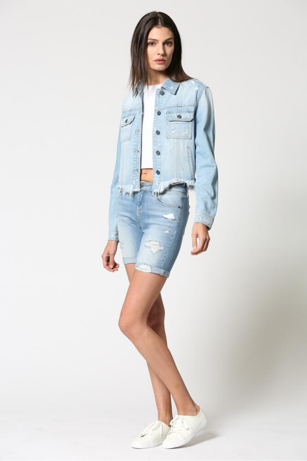 Hidden Jeans Fitted Distress Denim Jacket w Fray waist - Back Cropped Image