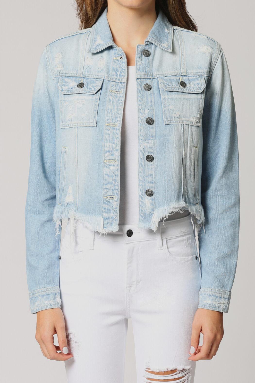 Hidden Jeans Fitted Distress Denim Jacket w Fray waist - Front Cropped Image