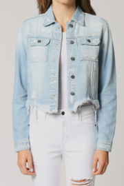 Hidden Jeans Fitted Distress Denim Jacket w Fray waist - Front cropped