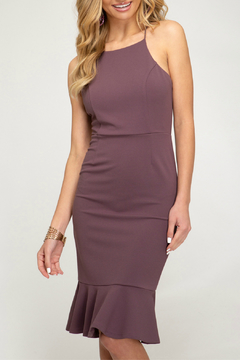She + Sky Fitted Dress With Ruffle Hem - Alternate List Image