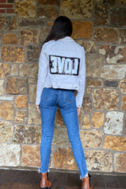 Soulstice Sky Fitted Ivory Denim jacket w Sequin Love - Product Mini Image