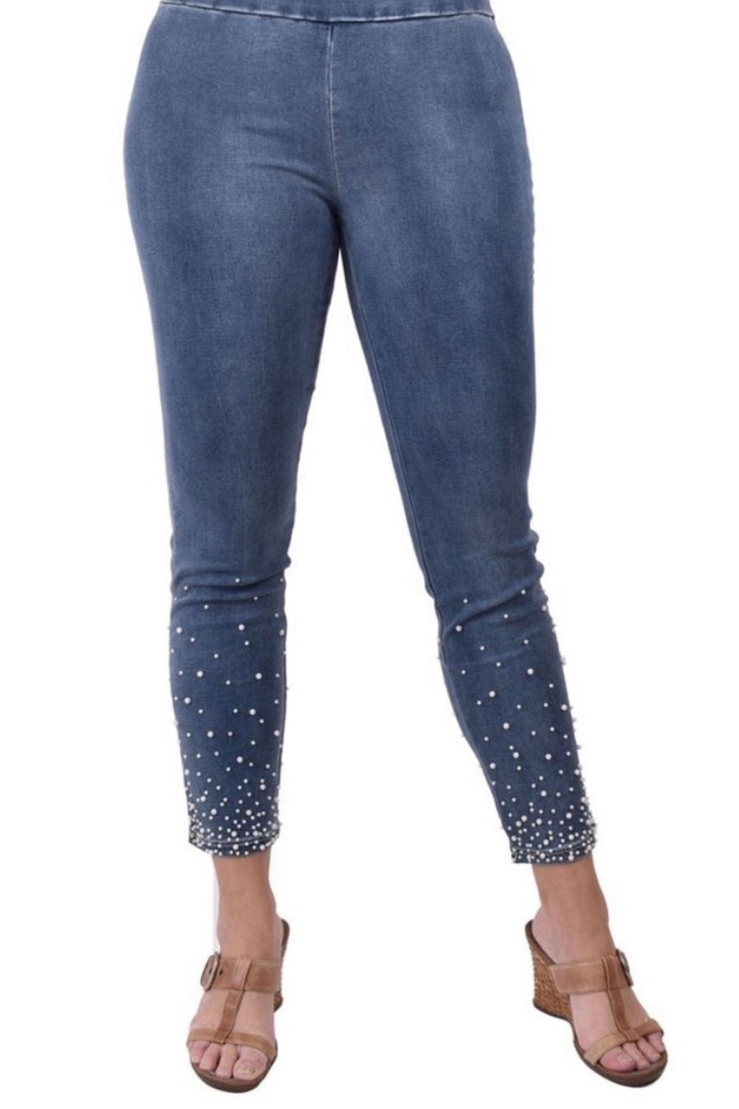 Ethyl Fitted jeans with pearl jeans - Main Image