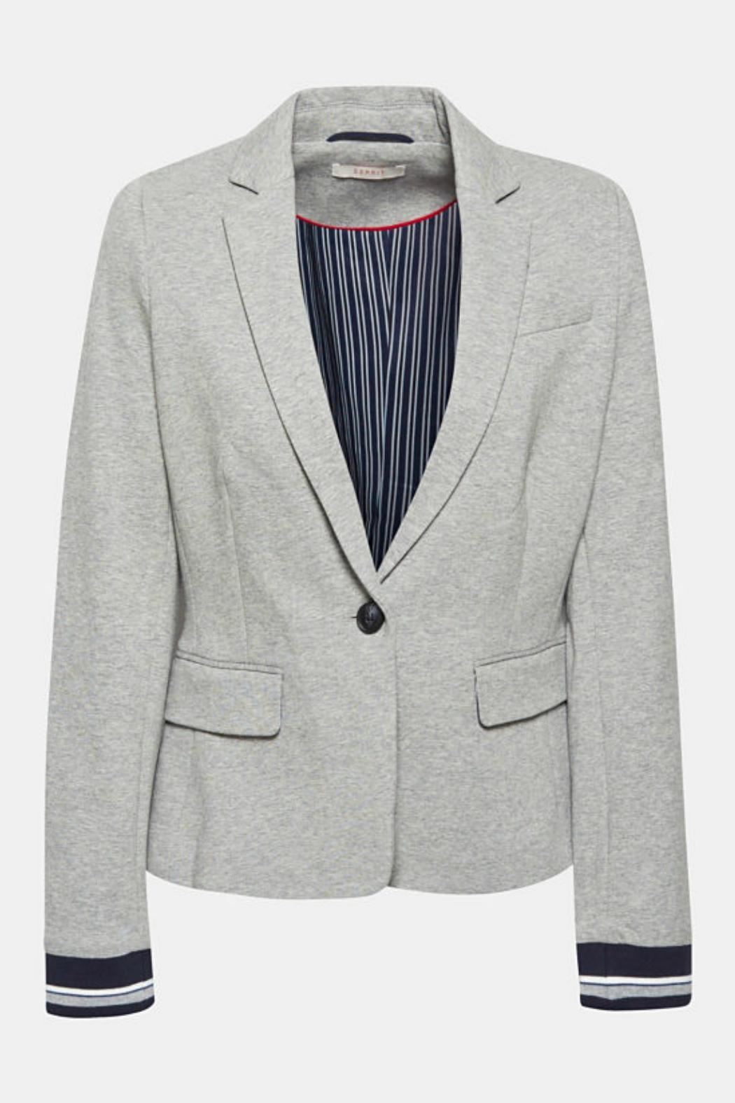 Esprit Fitted Jersey Blazer - Back Cropped Image