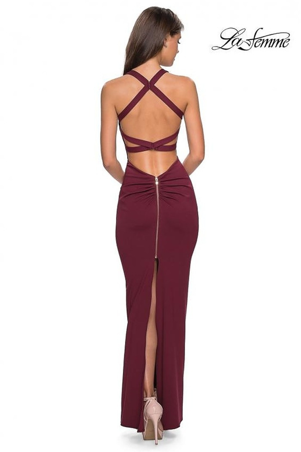 La Femme Fitted Jersey Gown - Front Full Image