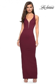 La Femme Fitted Jersey Gown - Front cropped