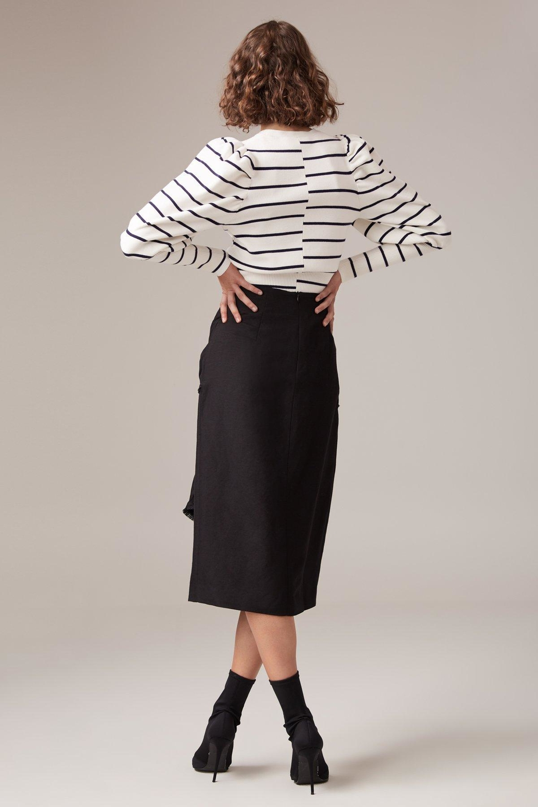 C/MEO COLLECTIVE Fitted Linen Skirt - Side Cropped Image