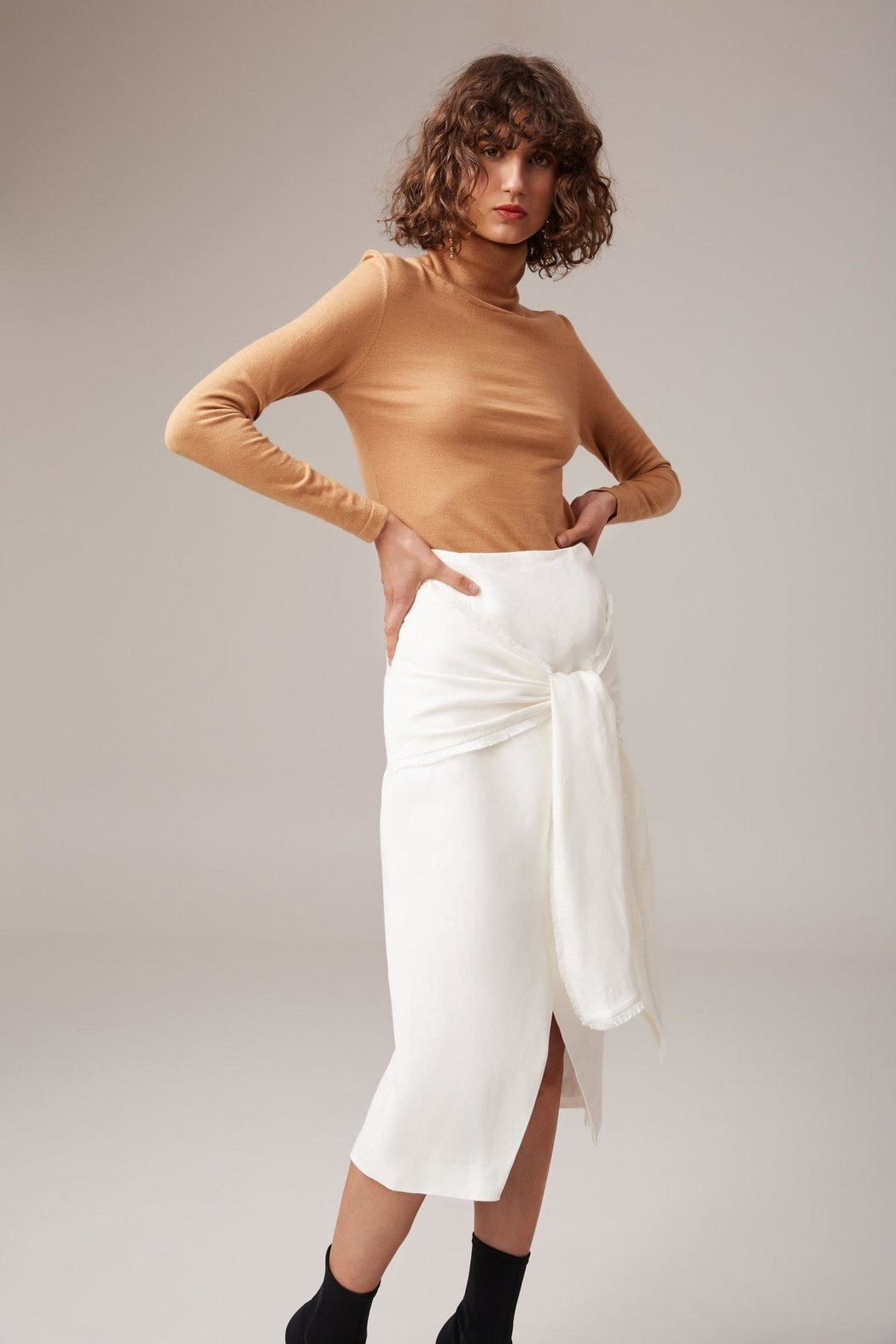 C/MEO COLLECTIVE Fitted Linen Skirt - Main Image