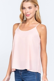 Active USA Fitted Round Neck w/Back Cross Strap Woven Cami Top - Product Mini Image