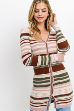 Paper Crane Fitted Stripe Cardi - Product List Image