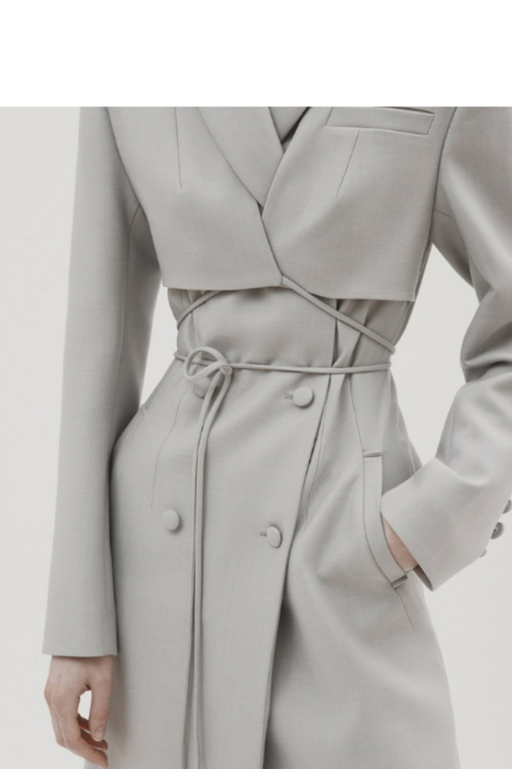 Materiel  Fitted Trench Coat with Overlay - Front Full Image