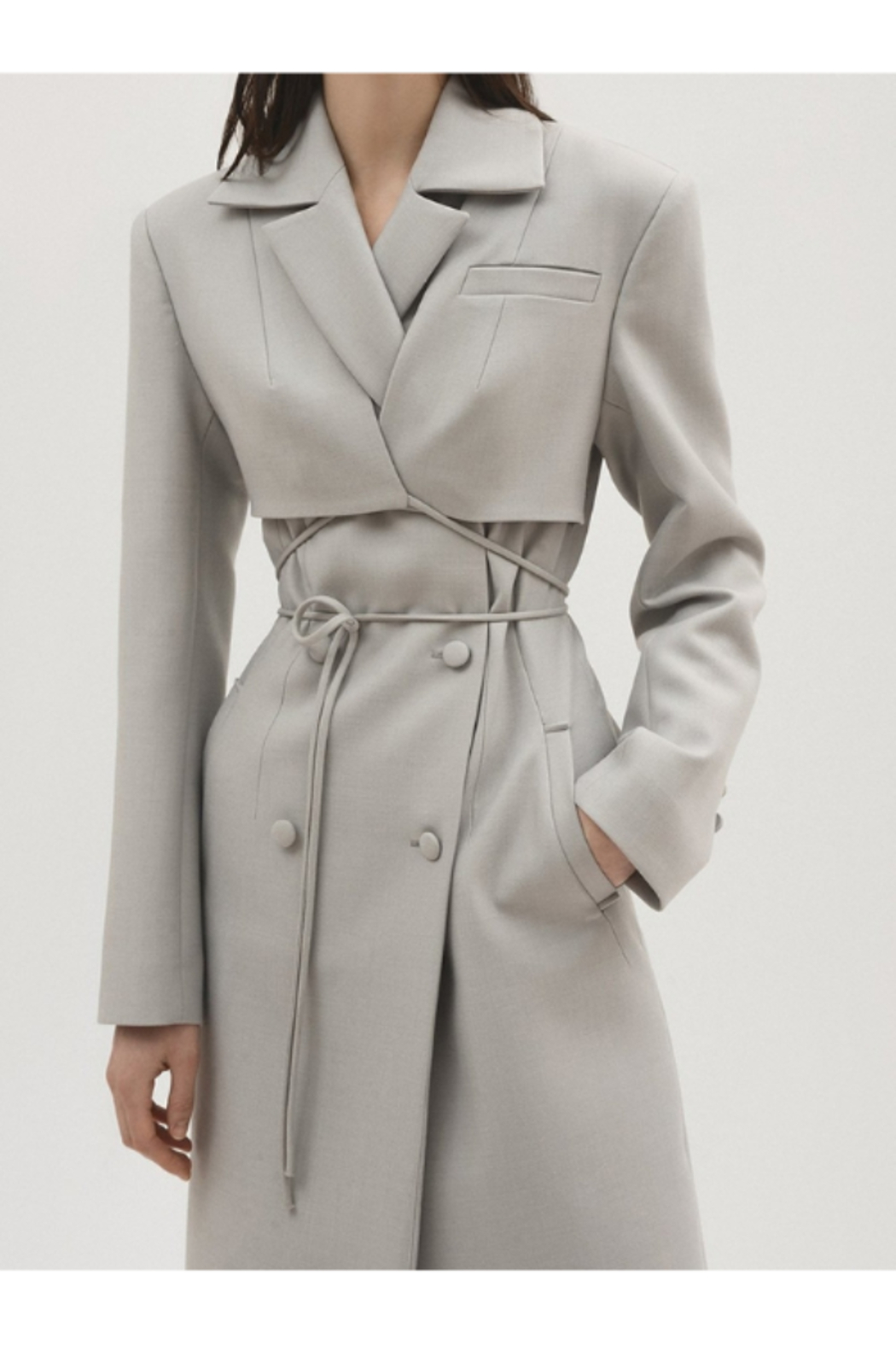 Materiel  Fitted Trench Coat with Overlay - Main Image
