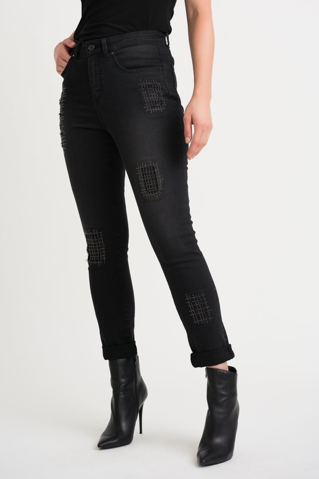 Joseph Ribkoff  Five pocket charcoal/dark grey jean with studded patch detail. - Main Image