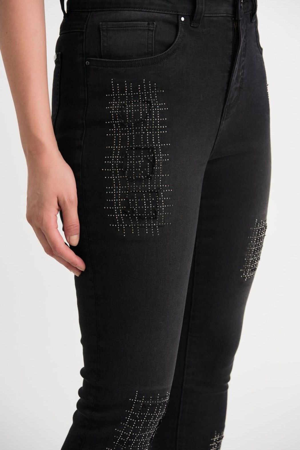 Joseph Ribkoff  Five pocket charcoal/dark grey jean with studded patch detail. - Side Cropped Image