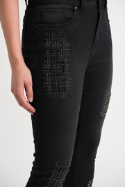Joseph Ribkoff  Five pocket charcoal/dark grey jean with studded patch detail. - Side cropped