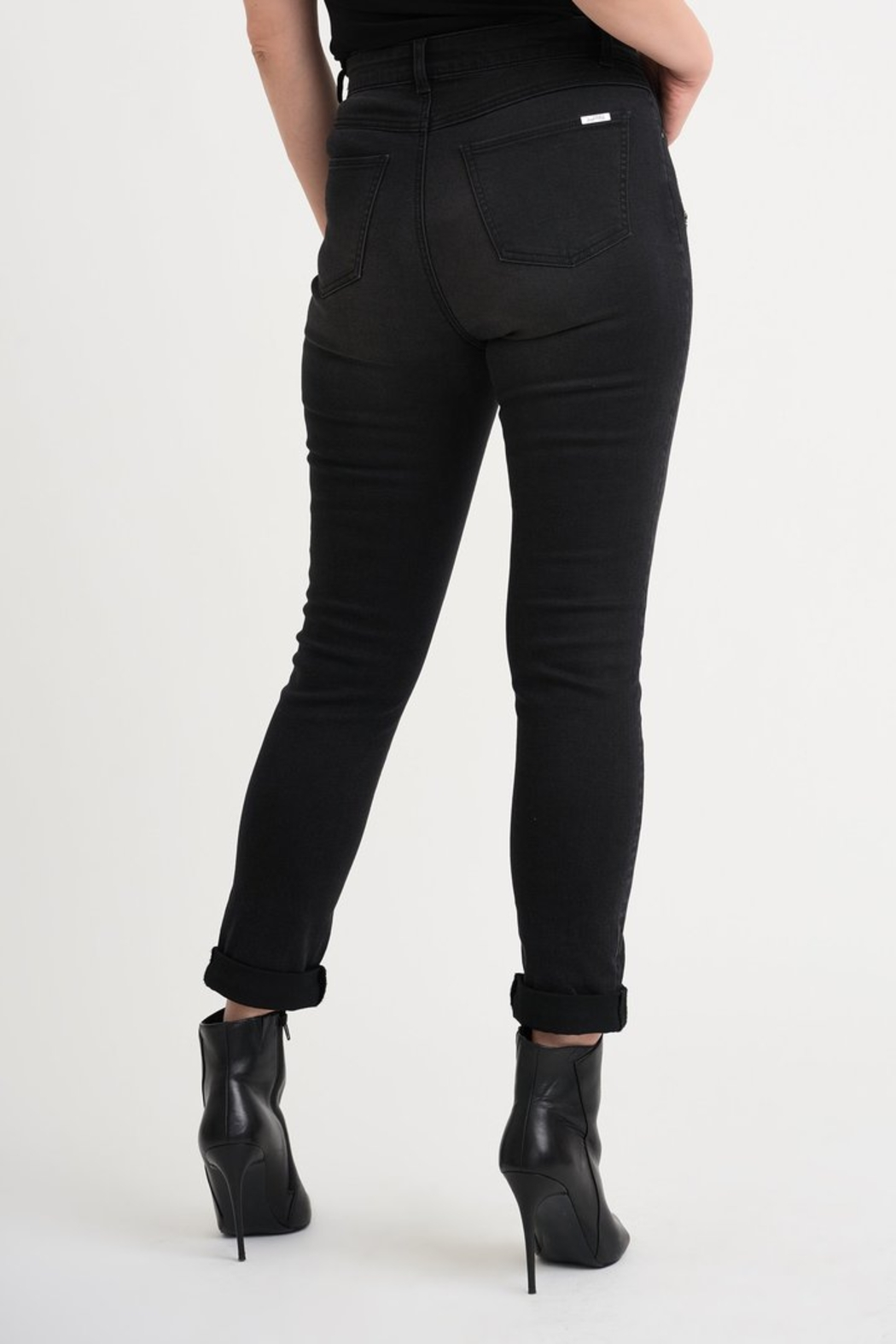 Joseph Ribkoff  Five pocket charcoal/dark grey jean with studded patch detail. - Front Full Image