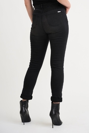 Joseph Ribkoff  Five pocket charcoal/dark grey jean with studded patch detail. - Front full body