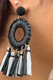 CoCo and Carmen  FLAMENCO BLACK AND WHITE EARRINGS - Front full body