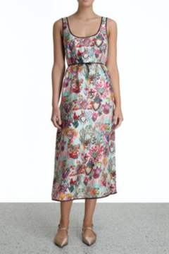 Zimmermann Flaming Hearts Silk Tank Midi Dres - Product List Image