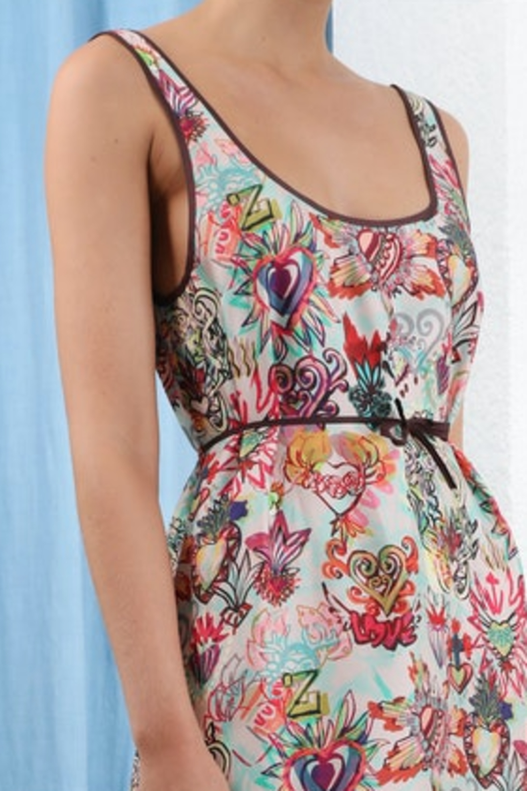 Zimmermann Flaming Hearts Silk Tank Midi Dres - Side Cropped Image