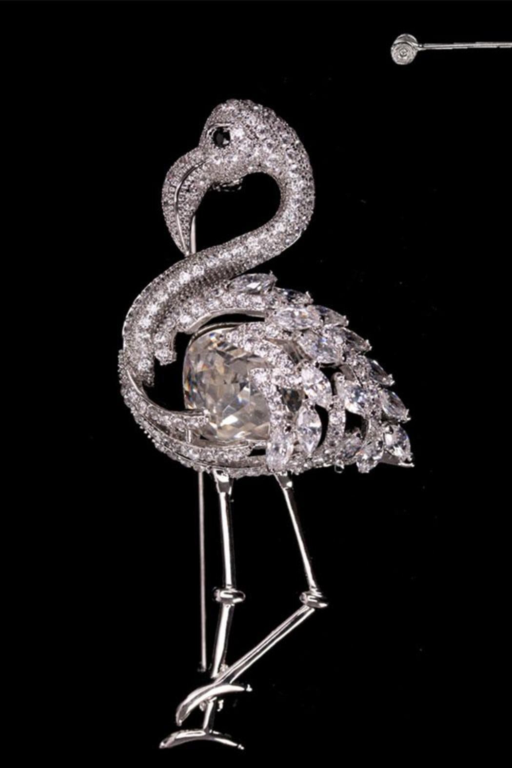 Nadya's Closet Flamingo Brooch W/gems - Front Full Image
