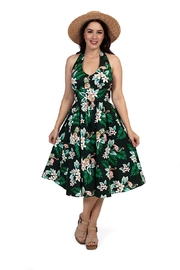 Retro Tiki Dress – Tropical, Hawaiian Dresses Flamingo Halter Dress $98.00 AT vintagedancer.com
