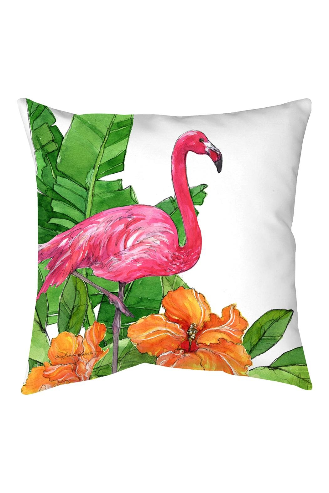 Sally Eckman Roberts Flamingo Hibiscus Pillow - Main Image