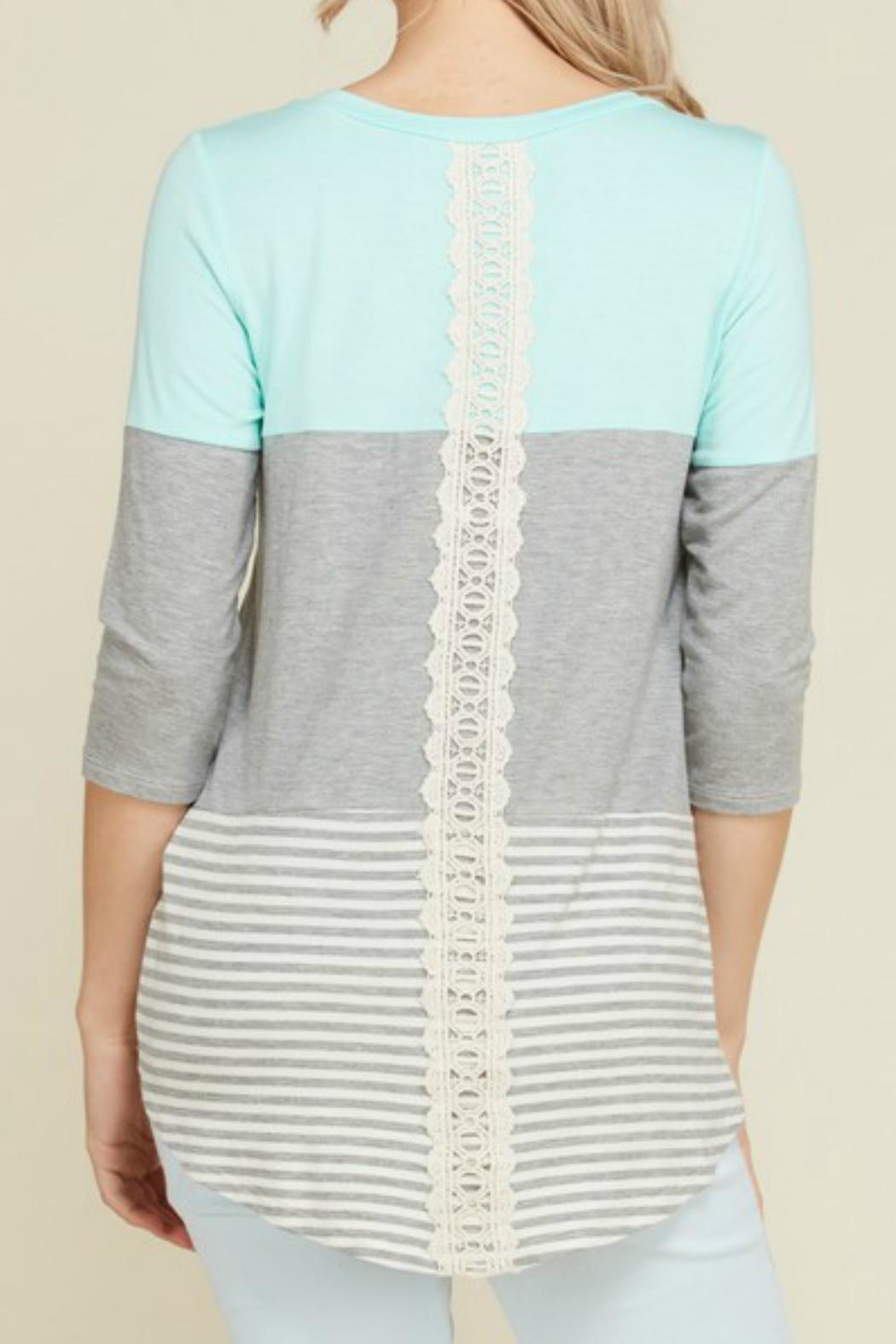 Flamingo Lace Trim  Tunic - Front Cropped Image