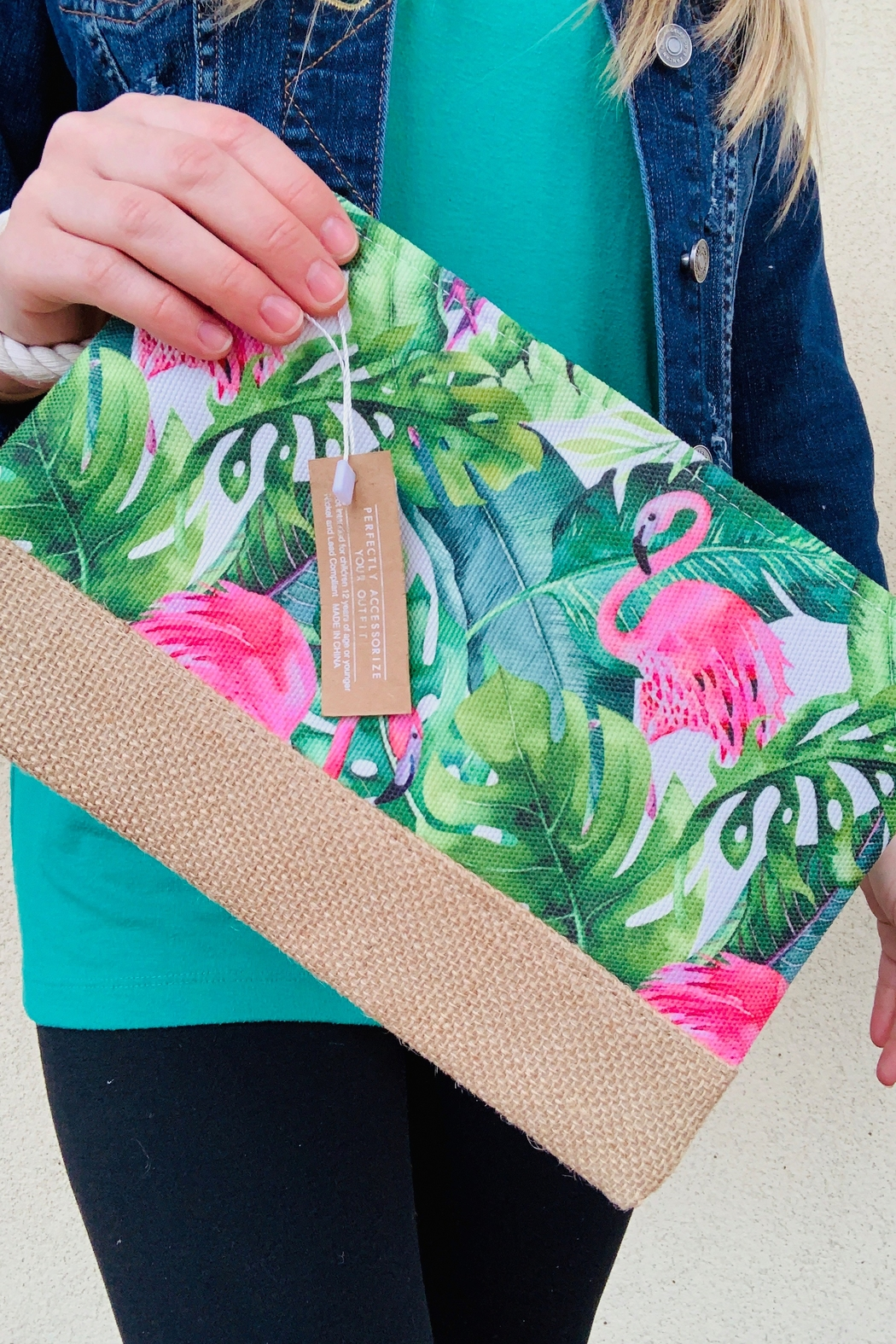 Caroline Hill Flamingo & Palm Pouch - Front Cropped Image