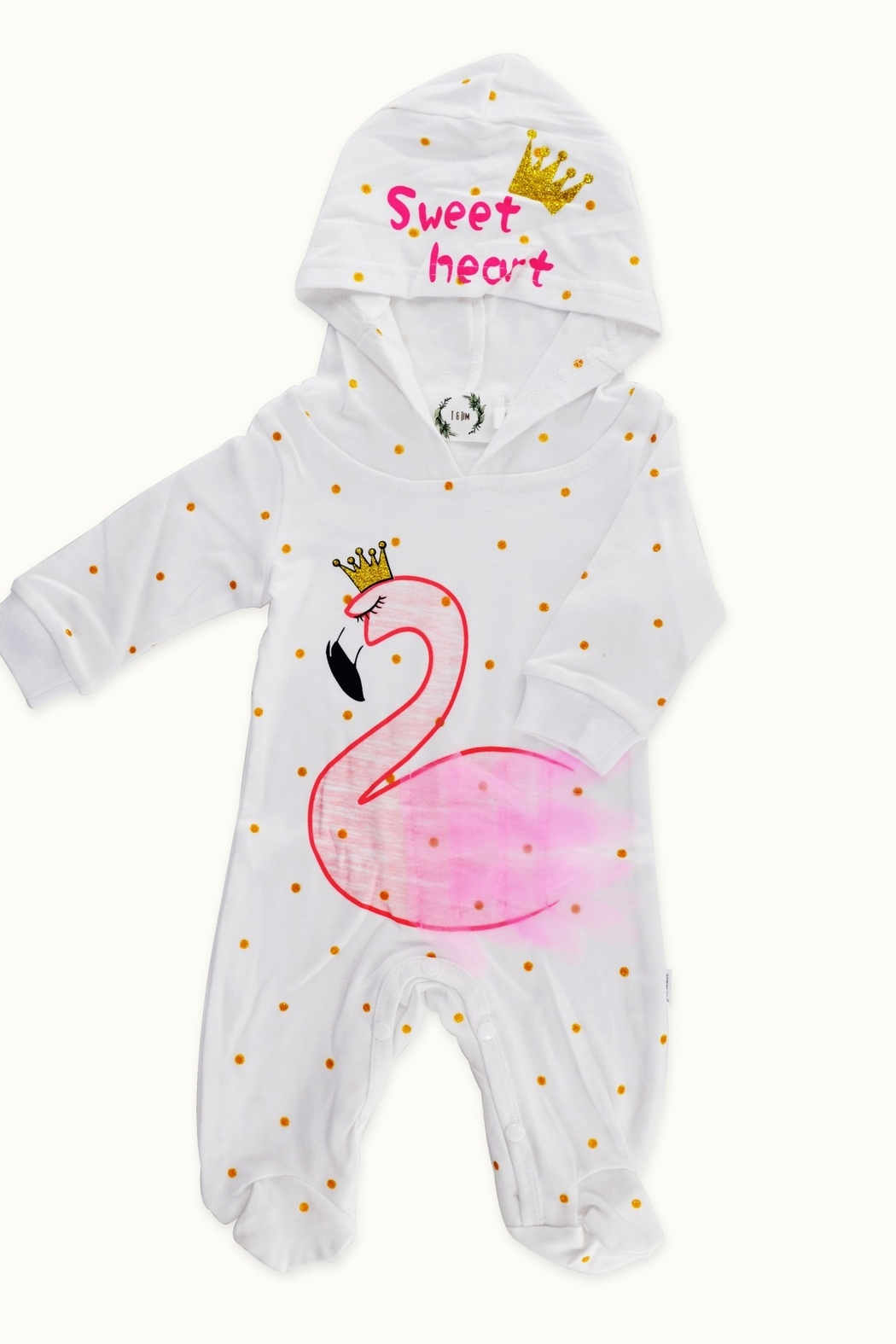T & Tim Flamingo Queen Hooded Nap Romper - Main Image