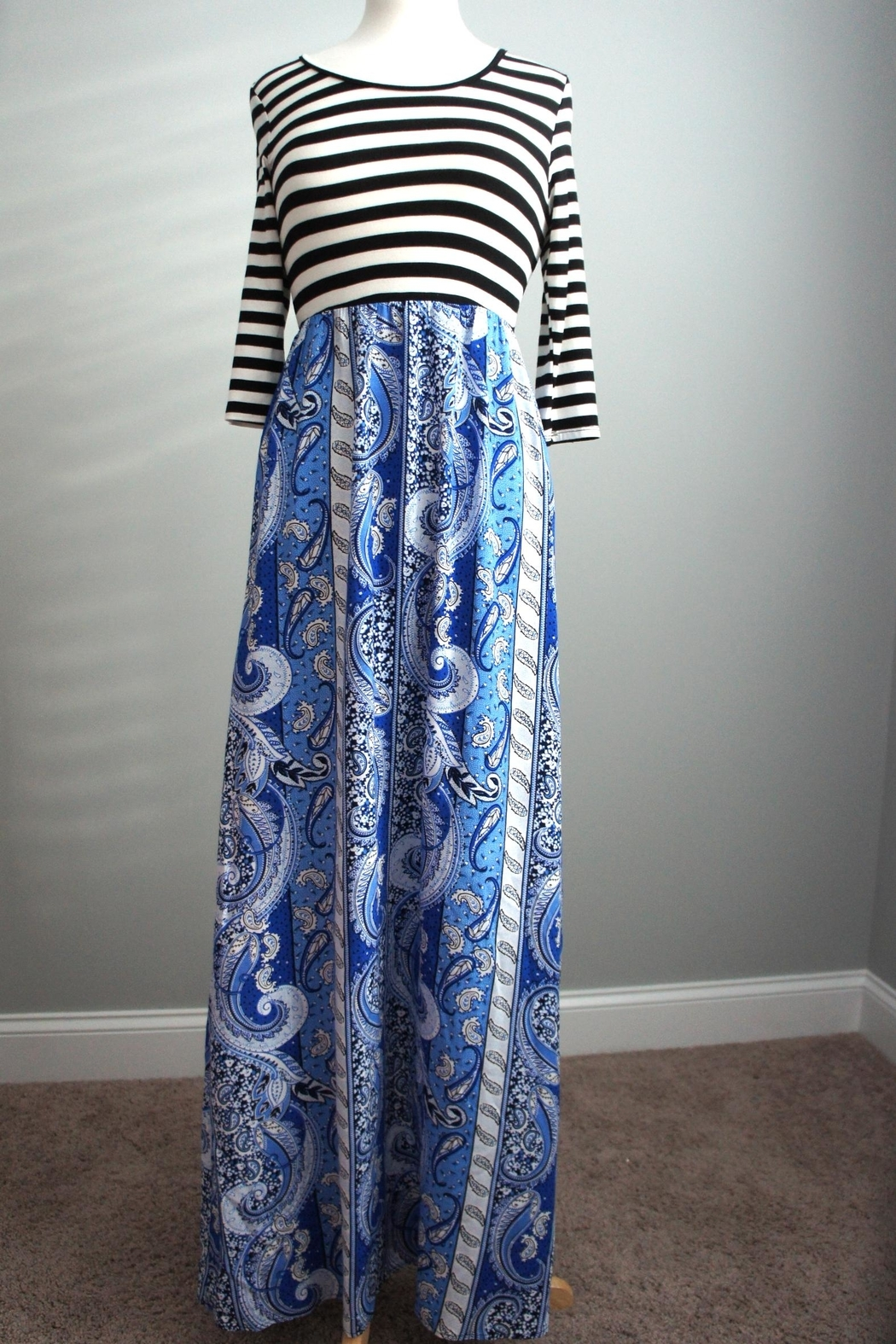 Flamingo Stripes-Boho Maxi-Dress - Front Cropped Image